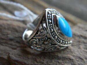 Sterling silver artisan made ring blue marquise turquoise  size  7