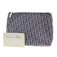 Christian Dior Trotter Pattern Pouch Navy Canvas Spain Authentic #AD532 S