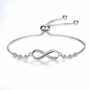 Adjustable Silver Infinity Friendship Bridesmaid Bracelet Cubic Zirconia Crystal