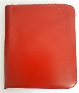 Vintage Red Leather Zipped Writing Case