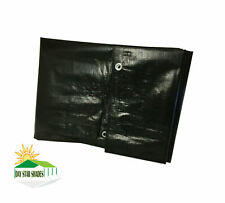 Extra Heavy Duty 12 mil Black Tarp 3 Ply Coated Reinforced Canopy 6 oz 3 Layer