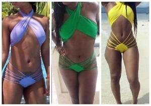 Strappy Swimwear Backless - Green, Yellow, Purple  Sizes 6 to10