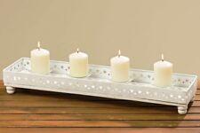 Kerzenleuchterschale weiß L60cm, Kerzentablett, Adventstablett für 4 Kerzen