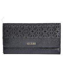 NWT GUESS Authentic Janette Logo Wallet Purse Slim Clutch Black