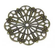50 Bronze Tone Filigree Flower Wraps Connector Embellishments Findings 41mm