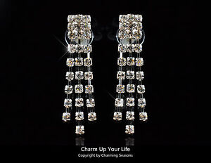 Australian Made 18K W Gold Plated Clip On Earrings Swarovski Element Crystals