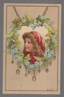 [42904] 1907 POSTCARD BRUNDAGE(?) ARTIST SIGNED YOUNG GIRL IN RED CAP