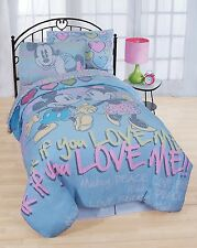 Disney Mickey and Minnie mouse Comforter Vintage Full 3 pieces Set shams Cotton