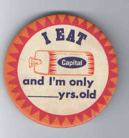 Vintage Capital BREAD pin BAKERY Premium pinback Promotional button