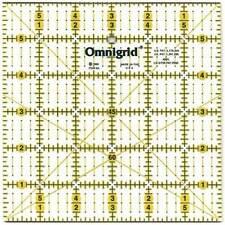 "Omnigrid Quilters Ruler Square Plastic 6 x 6"" 3"" Corner Grid Diagonal Angle Line"