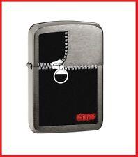 "Zippo ""Zipper"" Logo Lighter, Brushed Black Ice, 28326, +Wick +Flints"