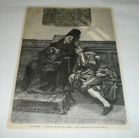 1878 magazine engraving~BULLFIGHTER CONFESSION BEFORE COMBAT Bullfighting, Spain
