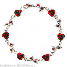 w Swarovski Crystal Hot Red Rose Flower Floral Bridal Wedding Bracelet Jewellery