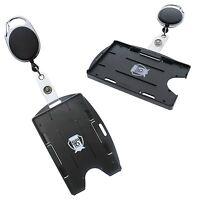 5 Pack - Multi Card ID Holders (Vertical or Horizontal) & Carabiner Badge Reel