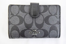 NWT! Coach Medium Smoke / Black PVC Leahter Corner Zip Wallet F23553