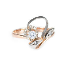 Russian Diamond Flower Ring Vintage 14k Rose Gold Estate Fine Jewelry Heirloom