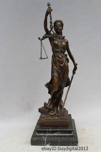 """14""""Chinese Western Art sculpture Bronze Marble Bell hoodman Warrior Statue"""