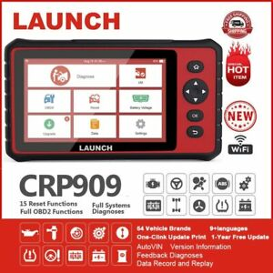 Launch CRP909 Full System Auto ECU IMMO Injector Coding Car Diagnostic Scan Tool