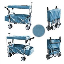 Blue Canopy Folding Collapsible Utility Cart Garden Beach Kids Toy Carrier Wagon