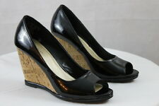 Women's ATTENTION Black Patent Leather Like Slip on Summer Cork Wedged Heels  6M