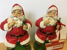 Coca Cola Christmas Resin Ornament Figure - Keep Quiet Santa x2