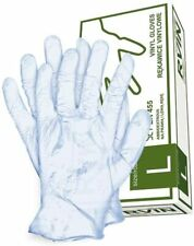 100 pairs of Clear Vinyl Gloves Lightly Powdered Size S/M/L Latex Free Food Safe