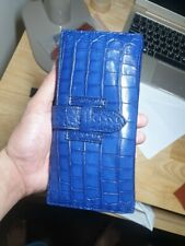 navy blue Crocodile Alligator Belly Leather Zipper Clutch Long Wallet