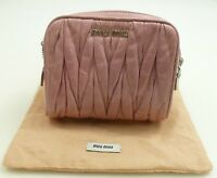 Miu Miu Double Zipper Matelasse Leather Pink Quilted Twisted Leather Camera  Zip d0641fefe6