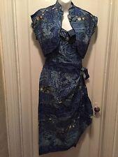Kahala Sun Fashions Of Hawaii cotton sarong dress & bolero blue tapa prt LARGE