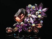 wedding purple amethyst crystal flower pendant brooch Birthday gift dress B99