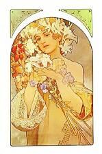 """Alphonse Mucha 1976 Authentic VINTAGE art nouveau stampa """"La Fleur"""" libro Piastra"""