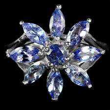 Sterling Silver 925 Genuine Natural Tanzanite Flower Ring Size R1/2  (US 9)