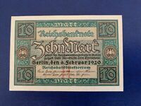 GERMANY - 10 MARK  BANKNOTE 1920-- EXTREMELY FINE