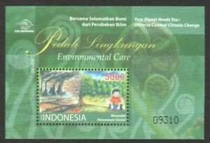 INDONESIA 2009 ENVIRONMENTAL CARE CLIMATE CHANGE SOUVENIR SHEET OF 1 STAMP MINT