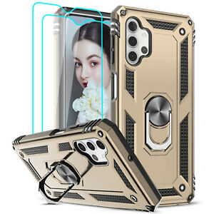For Samsung Galaxy A32/ A32(5G/) Ring Case+2 Screen Film Shockproof Stand Cover