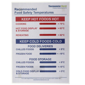 RECOMMENDED FOOD SAFETY TEMPERATURE POSTER KITCHEN CATERING SAFETY - IN-119