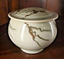 Don Davis Celadon Shino Glaze Asian Design Brown Wavy Lines Lid Bowl