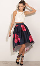 Polyester Knee-Length Floral Asymmetrical Skirts for Women