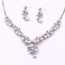 UK Silver Wedding Bride Crystal Diamond Pearl Leaf Necklace Earrings Set Jewelry