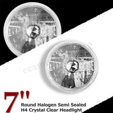 """7"""" Inch Round Halogen Semi Sealed H4 Crystal Clear Amber Headlight Conversion"""