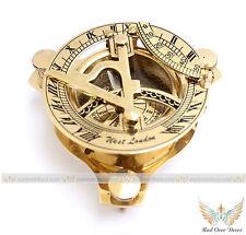 Brass Retro Sundial Compass Maritime Nautical Navigational Magnetic Instrument