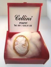 Gold Cellini Cameo Brooch Pendant Case Pompei Italy Beautiful Ornate 18K Yellow