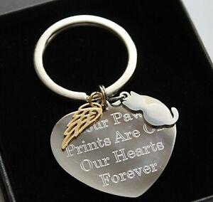 Personalised Cat Loss Keyring Any Engraving Angel Wings Memorial Keepsake Gifts