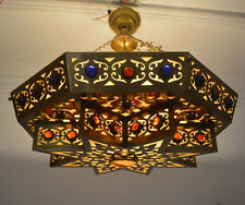 Handmade brass moroccan chandeliers ceiling fixtures ebay handcrafted moroccan matte gold brass jeweled chandelier ceiling light fixture aloadofball Image collections