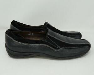 Sesto Meucci Italian Leather Slip-On Loafer Shoes Black & Gray Women US 7.5