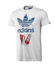 Adidas variados Camiseta De Algodón Logo Estampado Top Blanco O NEGRO XS, S,M,