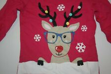 New Carter's Girls 2T Top Holiday Reindeer Glitter Graphic Pink Tee Snowflakes