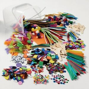 Mega Value Kids Arts and Crafts Pack Feathers Pipe Cleaners Pom Poms Foam Shapes