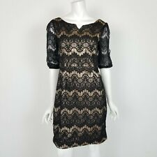 Almatrichi Madrid Sheath Dress Womens Size 36 US 6 Nude Black Lace Cocktail
