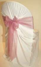 200 DUSTY PINK WEDDING ORGANZA SASHES CHAIR COVER BOW SASH  SASHES BOW UK SELLER